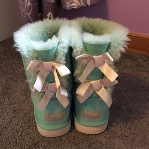 1bf42358249 Tiffany Blue Bailey buttons UGGs (white bows)